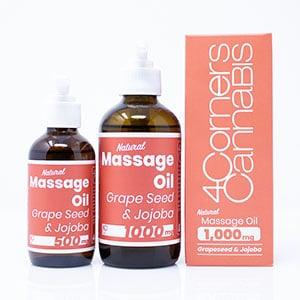 4Corners cbd grape seed jojoba massage oil